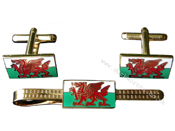 Wales Flag Tie Pin & Cufflinks Set